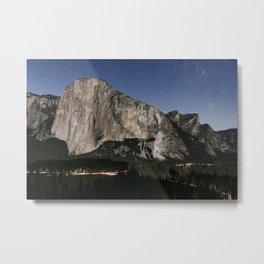 El Capitan, Stars, Headlamps Of Climbers, And The Meadow Below Metal Print