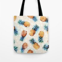crystals Tote Bags featuring Pineapples + Crystals  by micklyn