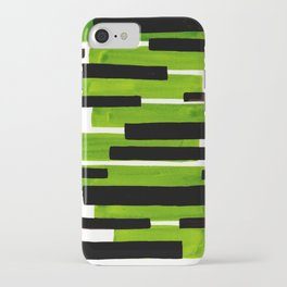 Lime Green Primitive Stripes Mid Century Modern Minimalist Watercolor Gouache Painting Colorful Stri iPhone Case