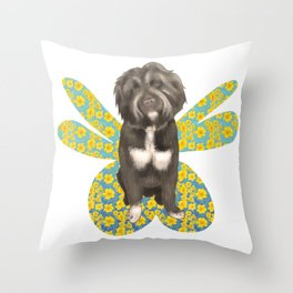 Cute Fluffy Dog Portrait with Big Colorful Wings Throw Pillow