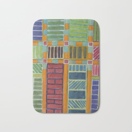 Orange-Turquoise Grid with different Fillings Bath Mat