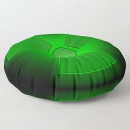 Funny green glowing radioactivity symbol Floor Pillow