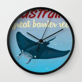 Australia great Barrier Reef Stingray vintage travel poster Wall Clock