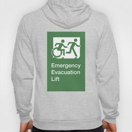 Accessible Means of Egress Icon, Emergency Evacuation Lift / Elevator Sign Hoody