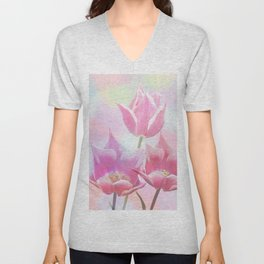 Painterly pastel spring with tulips Unisex V-Neck