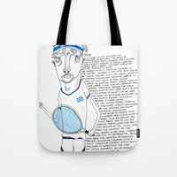 tennis Tote Bags featuring Tennis by Andrea Forgacs