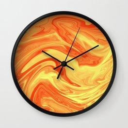Orange Marble Cute Vibrant Design Wall Clock