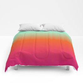 Emerald orange fuchsia gradient Comforters