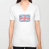 uk V-neck T-shirts featuring UK Flag by sinonelineman