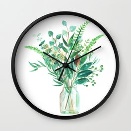 greenery in the jar Wall Clock