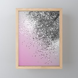 Silver Pink Glitter Dream #1 (Faux Glitter) #shiny #decor #art #society6 Framed Mini Art Print