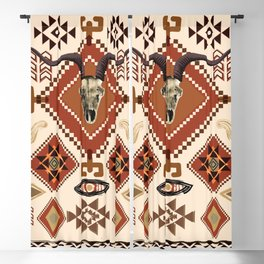 Southwest, Tribal, Aztec, Sante Fe, desert skull, warm colors, boho  Blackout Curtain
