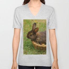 Little rabbit in the basket Unisex V-Neck