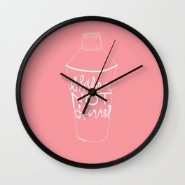 shaken in pink Wall Clock