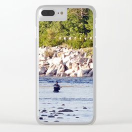 Salmon Fishing Clear iPhone Case
