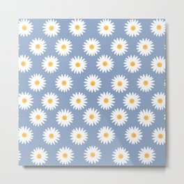 Blue daisy pattern Metal Print