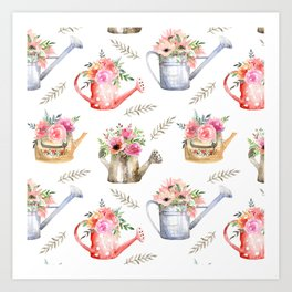 Garden watering cans and flowers. Vintage pattern Art Print