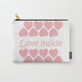 Love inside text with pink hearts Carry-All Pouch
