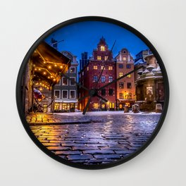 The Old Town Winter Night I Wall Clock