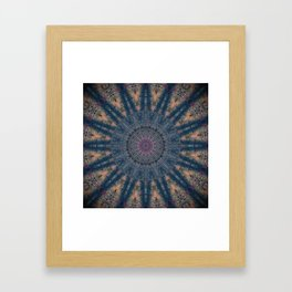 Delicate Navy Blue Bohemian Mandala Framed Art Print
