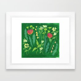 Sweet Flowers and Stems Framed Art Print