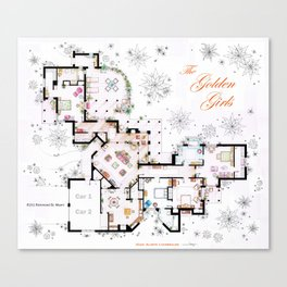 The Golden Girls House floorplan v.2 Canvas Print