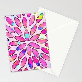 Pop Pink Splash Flower Leaves Pattern Stationery Cards