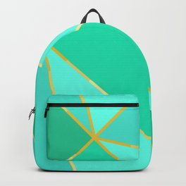 Teal Geometric Pattern With Gold Lines Backpack