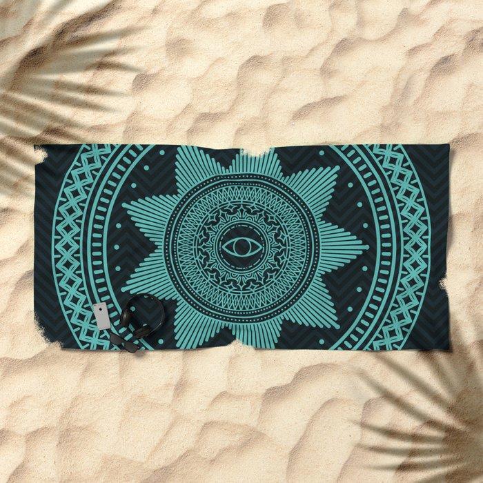 Eye of Protection Mandala Beach Towel