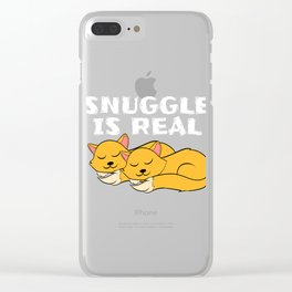 """A Real Tee For A Cat Lover You Saying """"Snuggle Is Real"""" T-shirt Design Cats Animals Pets Kitten Clear iPhone Case"""