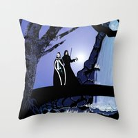 rogue Throw Pillows featuring Rogue & Remy  by Andrew Formosa