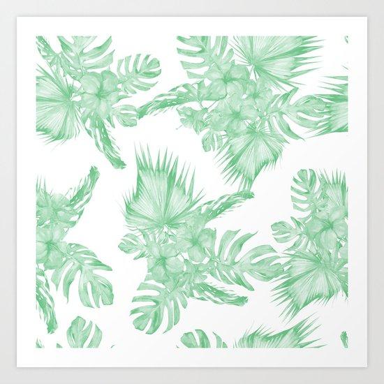 Island Tropical Green White Jungle Art Print