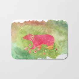Bear  with flowers - Animal watercolor illustration on #Society6 Bath Mat
