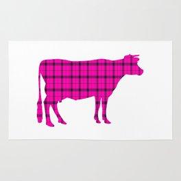 Cow: Pink Plaid Rug