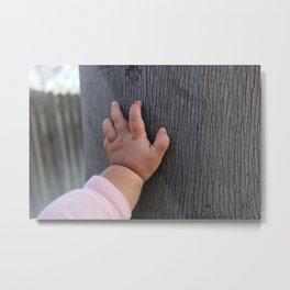 Tiny hands, big tree Metal Print