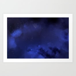 Navy Blue Sky Galaxy Painting Art Print