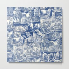 OVER 20 DOG BREEDS KENNEL - Classic Blue Metal Print