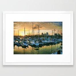 rainbow harbor Long Beach Framed Art Print