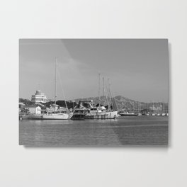 black and white old boats in need of Love Metal Print