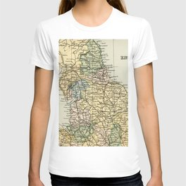 North England and Wales Vintage Map T-shirt