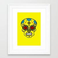 calavera Framed Art Prints featuring Calavera by SuperEdu