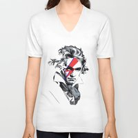 beethoven V-neck T-shirts featuring Bowie Beethoven by Komrod