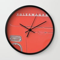 decal Wall Clocks featuring Red Volkswagen VW Bus Back Decal Vintage Photography by Tay Silvey