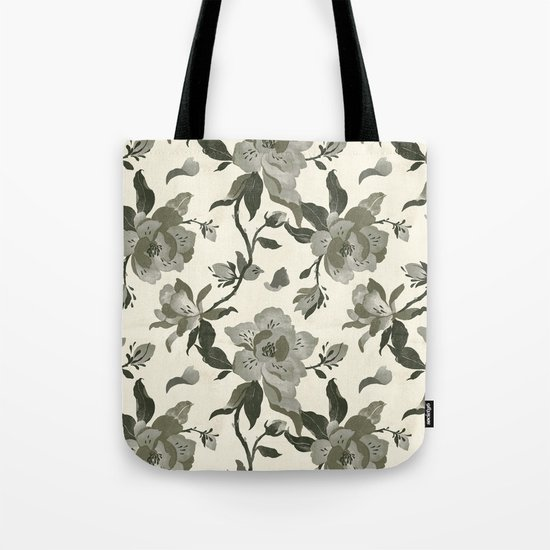 Black Magnolia Pattern Tote Bag