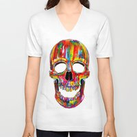 john V-neck T-shirts featuring Chromatic Skull by John Filipe