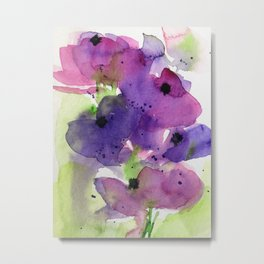 Purple Flowers in the Garden Metal Print