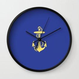 Modern royal blue sunshine yellow nautical anchor Wall Clock