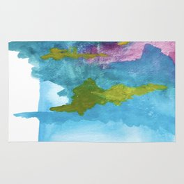 Salt Water Dreams: a vibrant abstract watercolor piece in blue, pink and yellow Rug