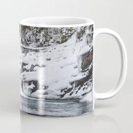 Winter Waterfall - Glacier National Park Coffee Mug