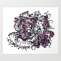 clockwork Art Prints featuring Clockwork by Voodoodle